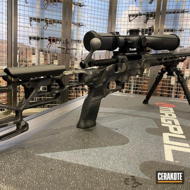 Custom Camo Rifle Cerakoted Using Savage® Stainless, Sniper Grey And Sniper Grey