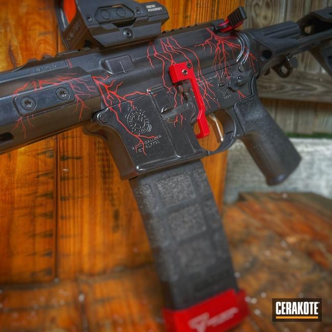 Cerakoted: S.H.O.T,AR Pistol,Crimson H-221,Armor Black H-190,Pistol,.223,Laser