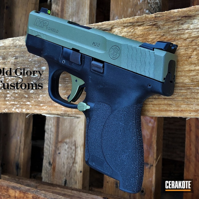 Cerakoted: S.H.O.T,9mm,Custom Mix,Custom Color Match Cerakote,Smith & Wesson,Crushed Silver H-255,Noveske Bazooka Green H-189,M&P Shield