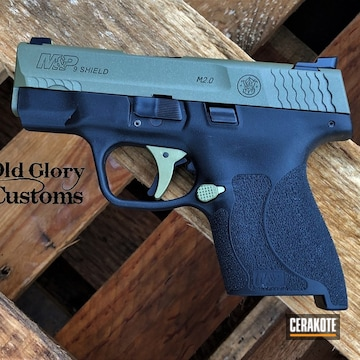 Smith & Wesson M&p Shield Cerakoted Using Noveske Bazooka Green And Crushed Silver
