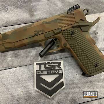 Custom Camo 1911 Cerakoted Using Forest Green, Coyote Tan And O.d. Green