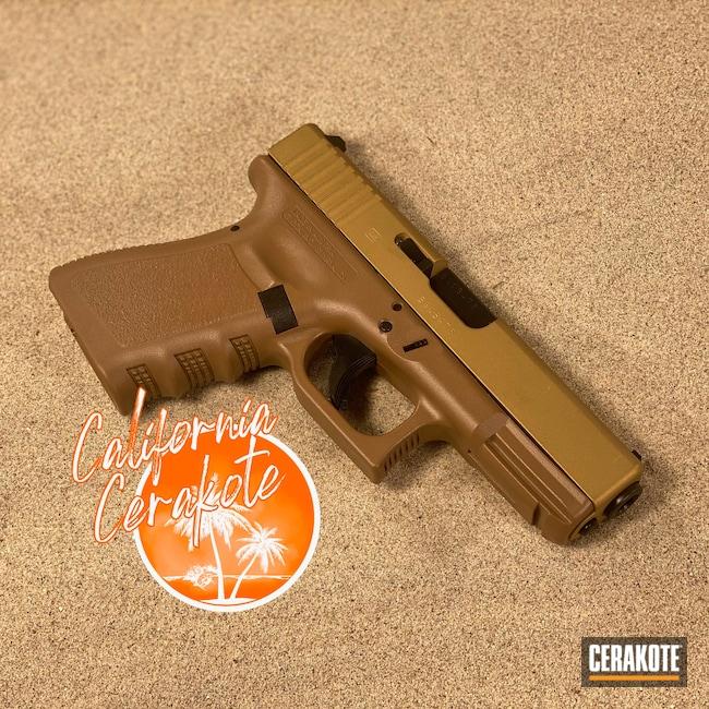 Cerakoted: S.H.O.T,Patriot Brown H-226,Glock,Christopher Miller,Gold H-122,california cerakote