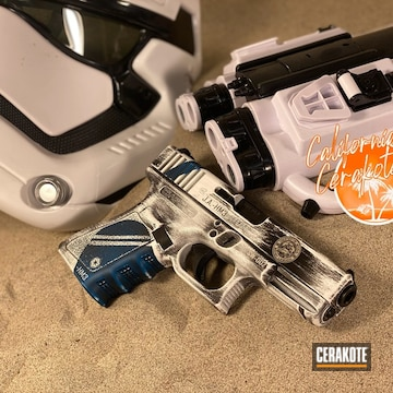 Battleworn Stars Wars Themed Glock 19  Cerakoted Using Ridgeway Blue, Stormtrooper White And Graphite Black