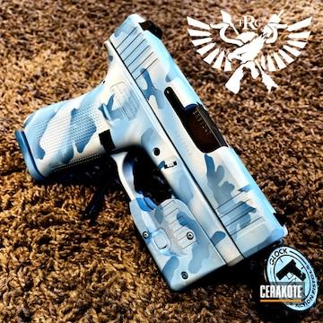 Custom Camo Glock 43 Cerakoted Using Bright White And Polar Blue