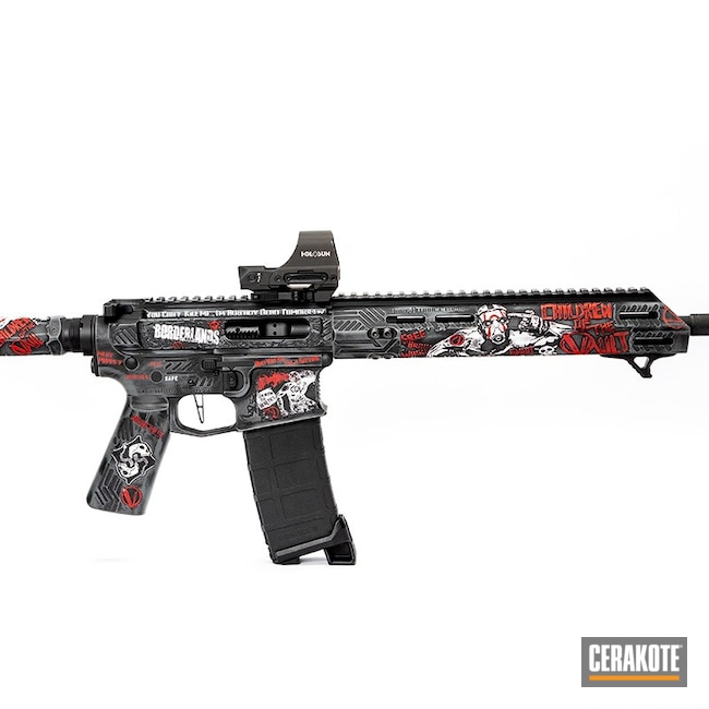 Cerakoted: Bright White H-140,S.H.O.T,Steel Grey H-139,FIREHOUSE RED H-216,Borderlands,Armor Black H-190,AR-15