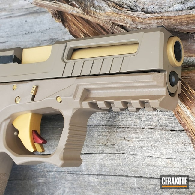 Cerakoted: S.H.O.T,Glock,P80,Gold H-122
