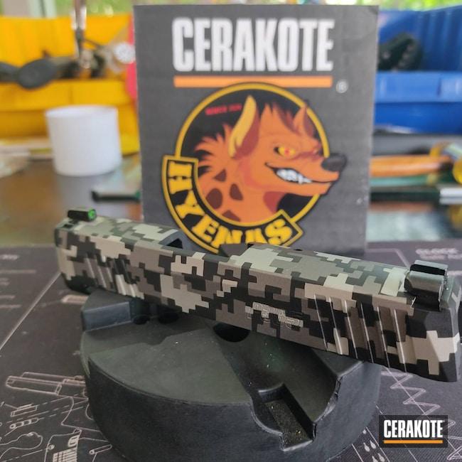 Cerakoted: S.H.O.T,Sig P365,9mm,Shimmer Aluminum H-158,Digital Camo,Graphite Black H-146,Stainless H-152,Sig Sauer,Custom Camo