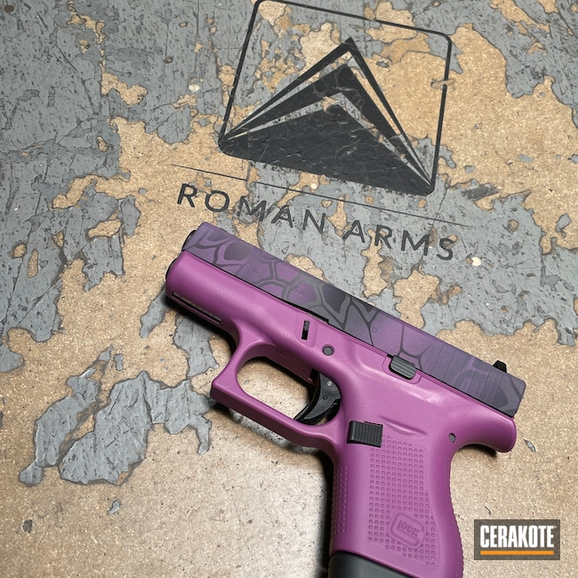Cerakoted: S.H.O.T,Glock 42,Kryptek,Graphite Black H-146,Bright Purple H-217,Wild Purple H-197,Camo,Pistol,Glock,Tactical Grey H-227,Handguns,Custom Camo