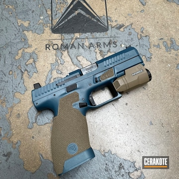 Two Tone Cz P-10 Pistol Cerakoted Using Coyote Tan And Blue Titanium