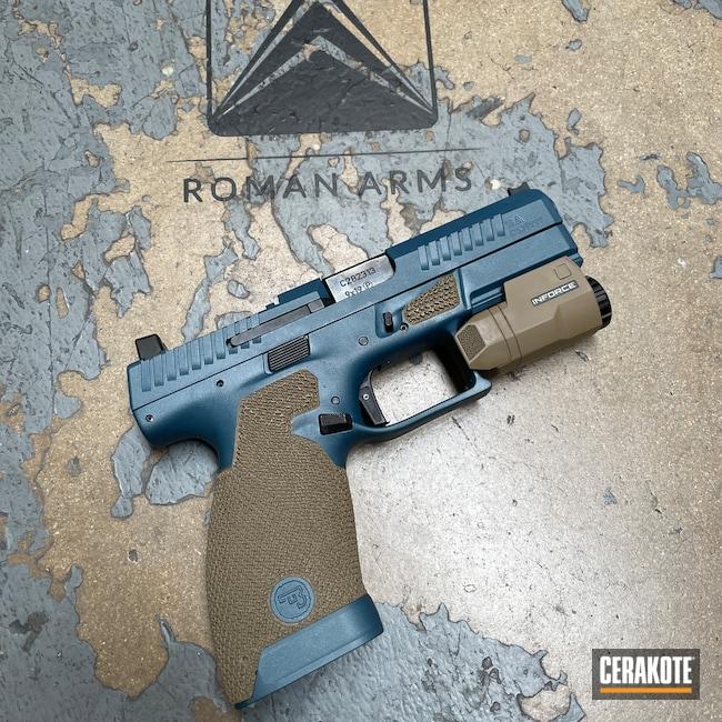 Cerakoted: S.H.O.T,Coyote Tan H-235,Two Tone,Inforce,Stippled,Pistol,Hand Stippled,CZ,Handguns,CZ P-10,Blue Titanium H-185