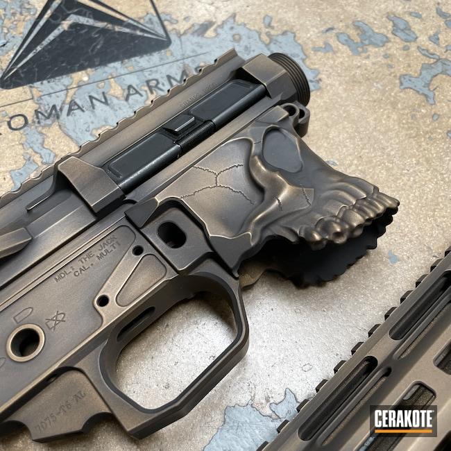 Cerakoted: S.H.O.T,Upper / Lower,Skull,Spike's Tactical The Jack,Battleworn,Spike's Tactical,Distressed,Upper / Lower / Handguard,Burnt Bronze H-148,Worn,Armor Black H-190,AR-15