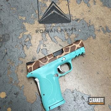 Giraffe Themed Smith & Wesson M&p Cerakoted Using Noveske Tiger Eye Brown, Satin Aluminum And Benelli® Sand