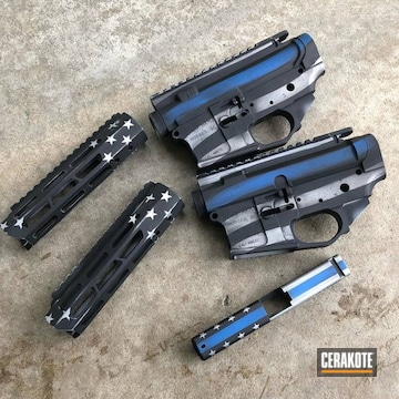 Thin Blue Line Themed Ar Builders Sets Cerakoted Using Satin Aluminum, Nra Blue And Gen Ii Graphite Black