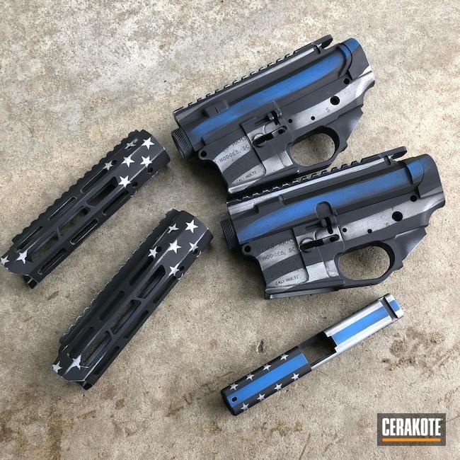 Cerakoted: S.H.O.T,Rifle,Thin Blue Line,Thin Blue Line Battleworn,Tactical Rifle,.223,DTWS,NRA Blue H-171,Battleworn,Gen II Graphite Black HIR-146,Satin Aluminum H-151,Thin Blue Line Flag,.223 Wylde,AR-15