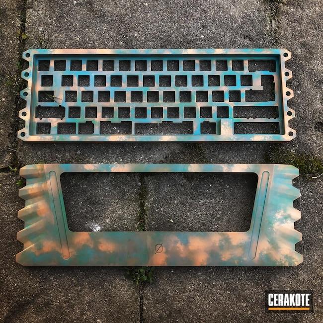 Cerakoted: S.H.O.T,COPPER H-347,AZTEC TEAL H-349,Copper,Copper Patina,Keyboard,Keyboard Case,Mechanical Keyboard