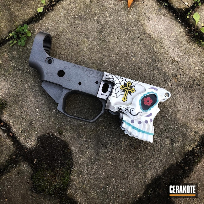 Cerakoted: S.H.O.T,Corvette Yellow H-144,Skull,Sharps Brothers,.223,AR Parts,AR Build,Bright White H-140,Sugar Skull,Spike's Tactical The Jack,AZTEC TEAL H-349,Graphite Black H-146,RUBY RED H-306,.223 Wylde,Sharps Brothers MDL The Jack