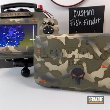 Custom Camo Lowrance Hook Fish Finder Cerakoted Using Titanium, Hunter Orange And Light Sand