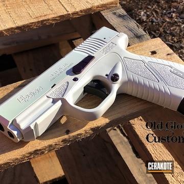 Bersa Bp9cc Pistol Cerakoted Using Stormtrooper White, High Gloss Ceramic Clear And Bright Purple