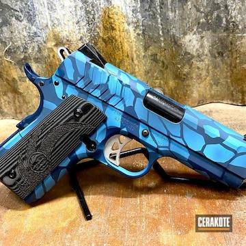 Kryptek Camo Ruger 1911 Pistol Cerakoted Using Blue Raspberry And Jesse James Civil Defense Blue