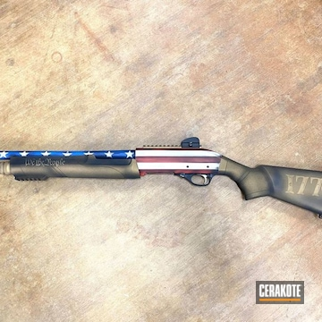 Distressed American Flag Themed Black Aces Shotgun Cerakoted Using Bright White, Nra Blue And Graphite Black