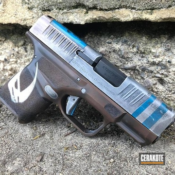 Mandalorian Themed Springfield Armory Hellcat Pistol Cerakoted Using Multicam® Dark Brown, Crushed Silver And Bright White