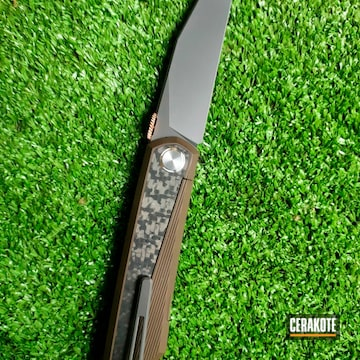 Custom Folding Knife Cerakoted Using Midnight Bronze And Smoke
