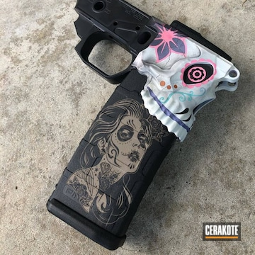 Sugar Skull Themed Ar Lower And Mag Cerakoted Using Sunflower, Tequila Sunrise And Pink Sherbet