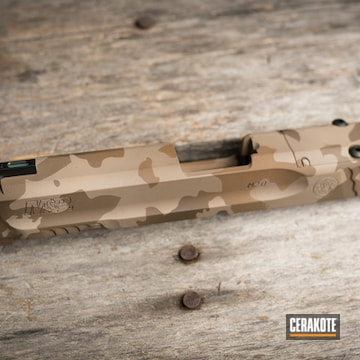 Custom Camo Smith & Wesson M&p Shield Slide Cerakoted Using Troy® Coyote Tan, Desert Sand And Patriot Brown