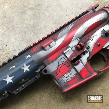 Battleworn American Flag Themed Ar Build Cerakoted Using Kel-tec® Navy Blue, Bright White And Ruby Red