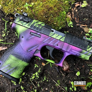The Joker Themed Walther Pistol Cerakoted Using Zombie Green, Graphite Black And Bright Purple