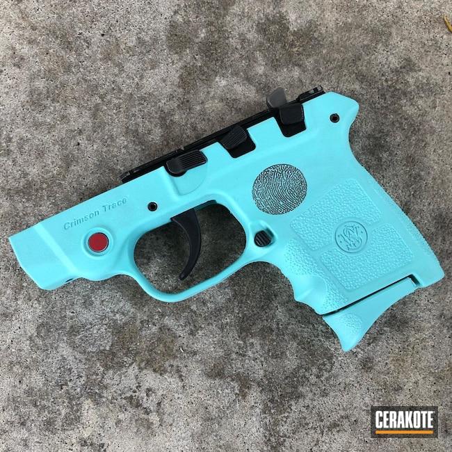 Cerakoted: S.H.O.T,Laser Stippled,Memorial,Robin's Egg Blue H-175,EDC Pistol,Laser Engrave,EDC,Robinson Arms,.22