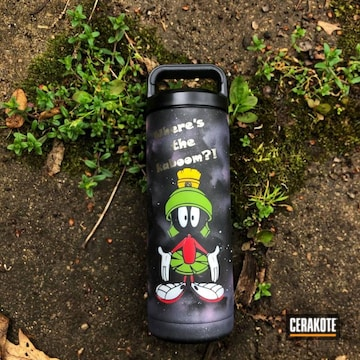 Marvin The Martian Themed Yeti Tumbler Cerakoted Using Bright White, Zombie Green And Crushed Orchid