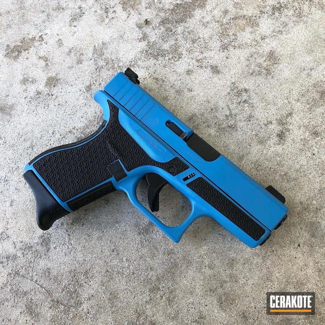 Cerakoted: S.H.O.T,9mm,Laser Stippled,Sea Blue H-172,Pistol,Glock,Laser Engrave,Glock 43