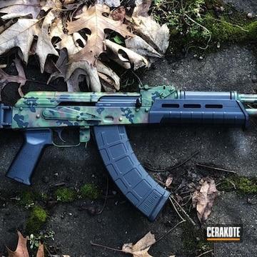 Custom Camo Ak Cerakoted Using Multicam® Dark Brown, Multicam® Bright Green And Graphite Black