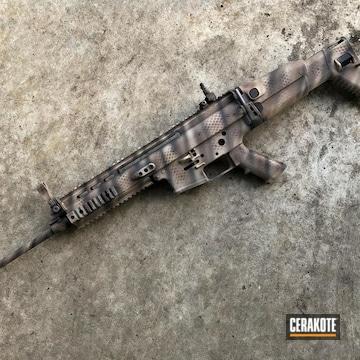 Custom Camo Scar Cerakoted Using Desert Sand, Chocolate Brown And Gen Ii Graphite Black