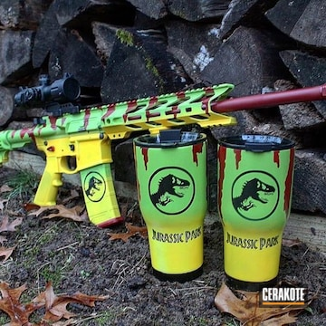 Jurassic Park Themed Ar And Tumblers Cerakoted Using Crimson, Zombie Green And Corvette Yellow