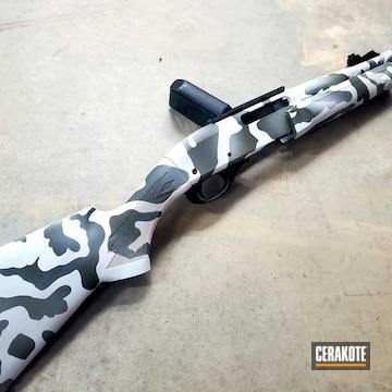 Custom Camo Rifle Cerakoted Using Snow White, Sniper Green And Sig™ Dark Grey