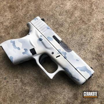 Custom Camo Glock 43 Cerakoted Using Multicam® Dark Grey, Snow White And Battleship Grey