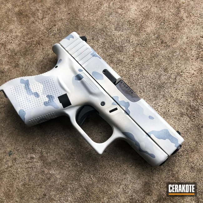 Cerakoted: S.H.O.T,9mm,Alpine Series,Alpine MultiCam,Snow White H-136,EDC Pistol,BATTLESHIP GREY H-213,Glock,EDC,Glock 43,MULTICAM® DARK GREY H-345