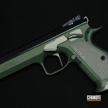 Cz Ts 2 Pistol Cerakoted Using Lemon Zest, Shimmer Aluminum And Graphite Black