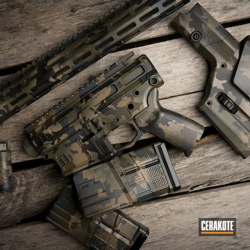 Custom Camo Ar Builders Set With Stock And Mags Cerakoted Using Armor Black, Patriot Brown And O.d. Green