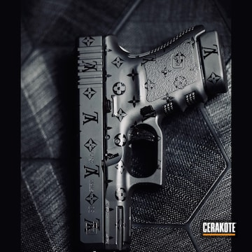 Louis Vuitton Themed Glock 30 Cerakoted Using Armor Black And Gloss Black