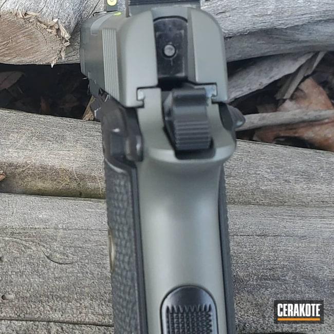 Cerakoted: S.H.O.T,9mm,p938,BLACKOUT E-100,Pistol,Sig Sauer,Concrete E-160