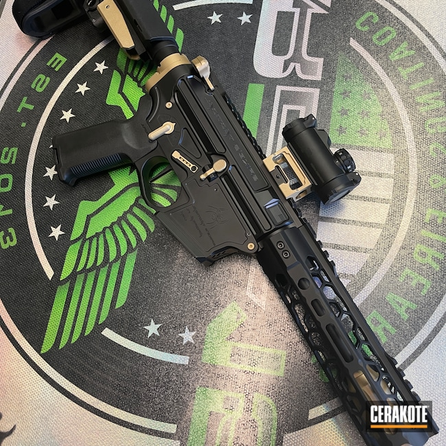 Cerakoted: S.H.O.T,9mm,Spikes Tactical Pistol,Graphite Black H-146,Gold H-122