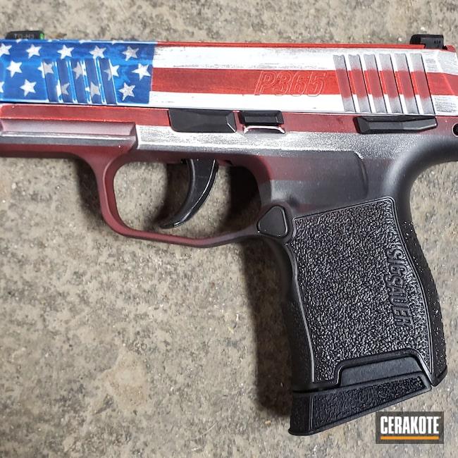 Cerakoted: S.H.O.T,NRA Blue H-171,Snow White H-136,Graphite Black H-146,p365,USMC Red H-167,Pistol,Sig Sauer,Handgun