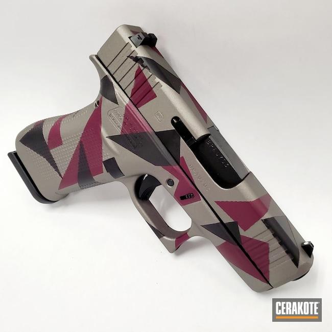 Cerakoted: S.H.O.T,Glock 43X,Custom Camo,Gold H-122,Production Run,Sniper Grey H-234,FIREHOUSE RED H-216,AZTEC TEAL H-349,Graphite Black H-146,Camo,Glock,Splinter Camo,Hunter Orange H-128