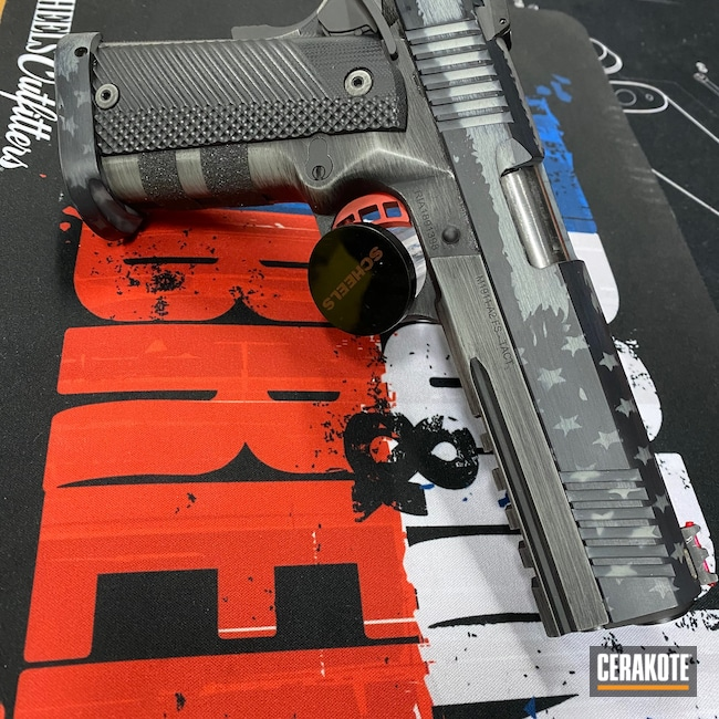 Cerakoted: S.H.O.T,9mm,Graphite Black H-146,Rock Island Armory,Bull Shark Grey H-214