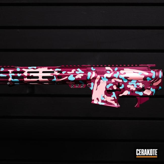 Cerakoted: S.H.O.T,BLACK CHERRY H-319,Black Cherry,Rose Gold,AR Parts,AR Build,Custom Rifle,AR,AR Project,Camo,Custom Rifle Build,Ar Rail,AR Upper,ROSE GOLD H-327,AR Rifle,AR-15