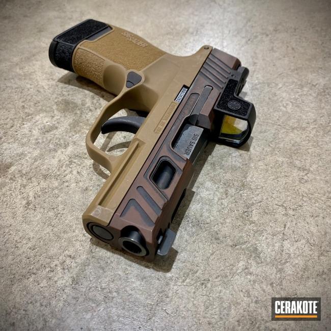 Cerakoted: S.H.O.T,Sig P365,Battleworn,Graphite Black H-146,Distressed,Two Tone,Peanut Butter,Firearm,Sig Sauer,MULTICAM® DARK BROWN H-342,Horns,Handgun