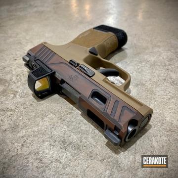 Battleworn Sig Sauer P365 Pistol Cerakoted Using Multicam® Dark Brown And Graphite Black